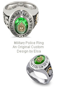 custom platinum military police ring cads